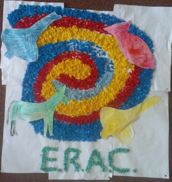 The Edmund Rice Action Camp mural prepared during the 2013 camp.