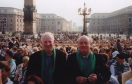 Br Joe (right) with the late Br Basil at the Beatification of Edmund Rice by Pope John Paul II in Rome, October 1996.
