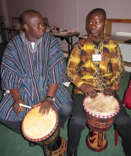 Drummer boys! Br Joseph plays traditional Ghanaian drums with Br Valerius.