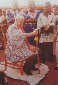 Br Joe is enstooled as an honourary chief in a local village in Ghana.