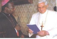 Pope Benedict XVI receives a copy of Br Joe's history of the Church in northern Ghana.